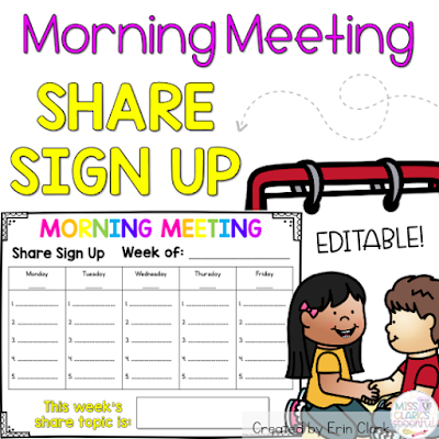 Morning Meeting Share Sign Up by Miss Clark's Spoonful on Teachers Pay Teachers