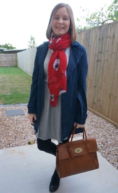 navy macintosh with grey asos skater dress pop of colour red sheep print scarf | away from blue