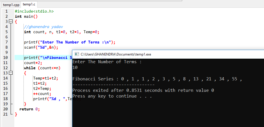 C Program to Display Fibonacci Series Using While Loop
