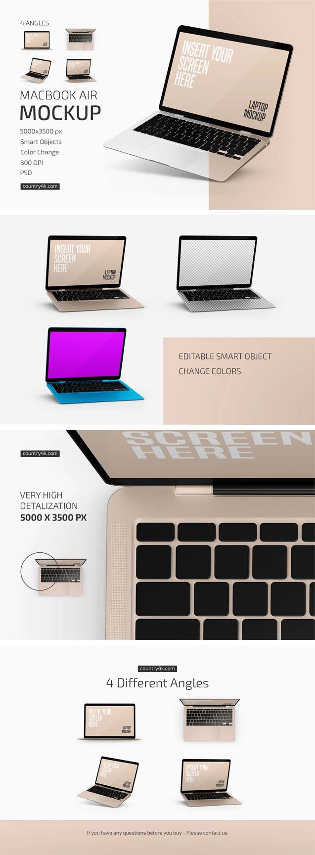 Macbook Air Mockup Set