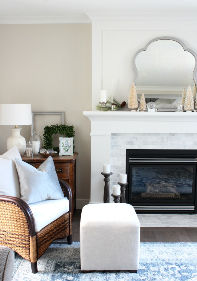 Classic white and marble fireplace