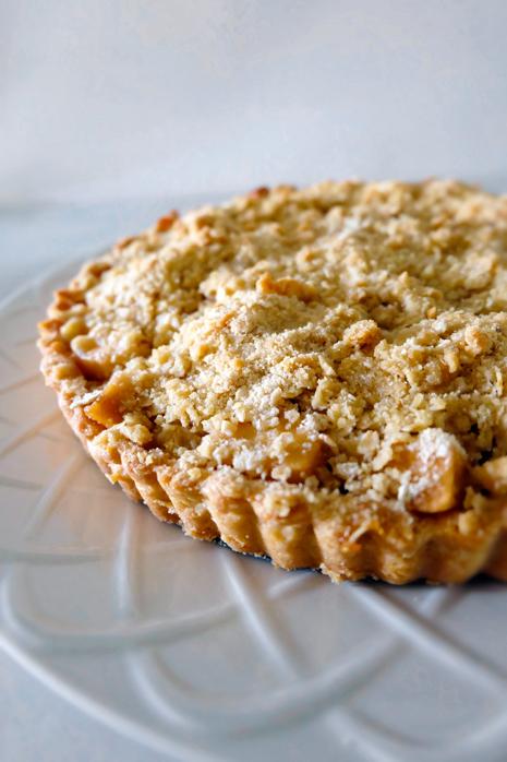 plated apple crumble tart
