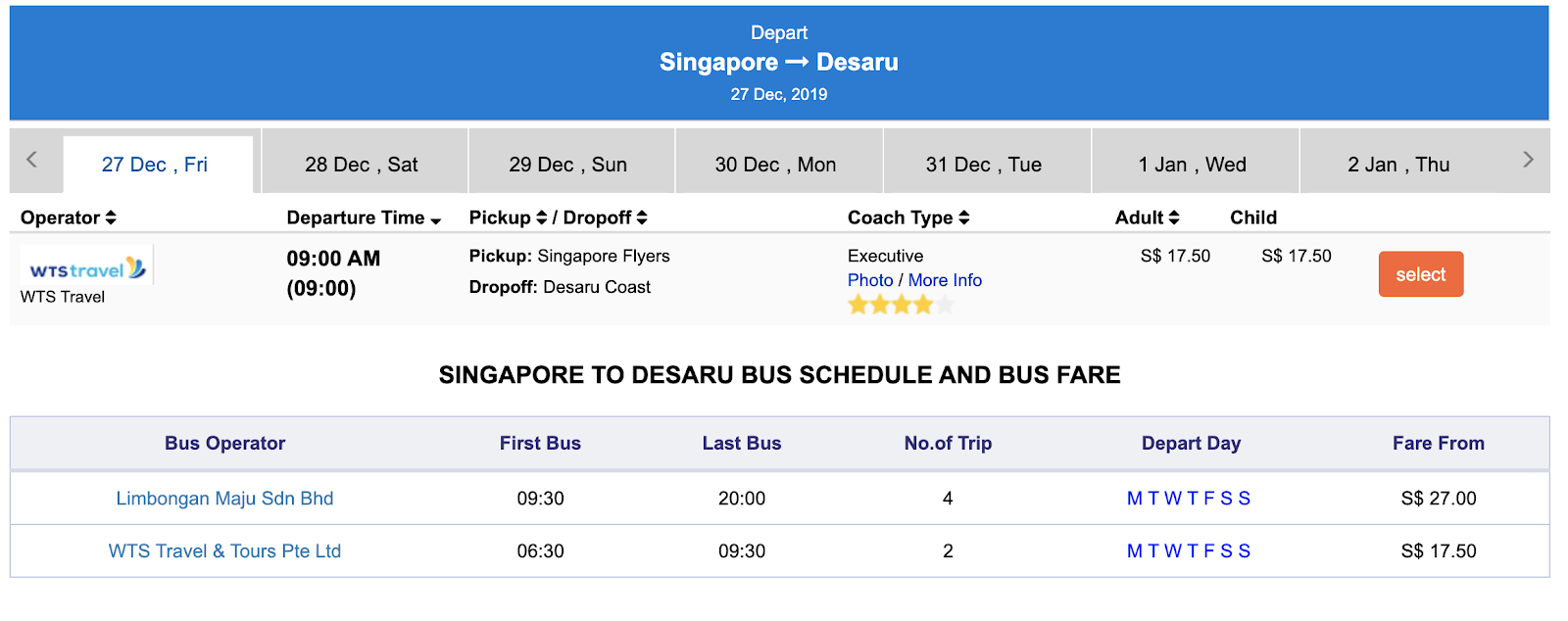 Getting from Singapore to Desaru by bus