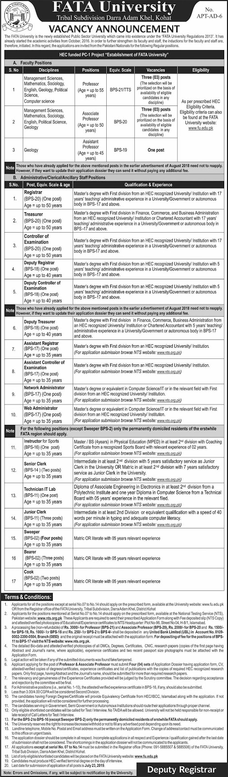 Jobs FATA UNIVERSITY 05 July 2019