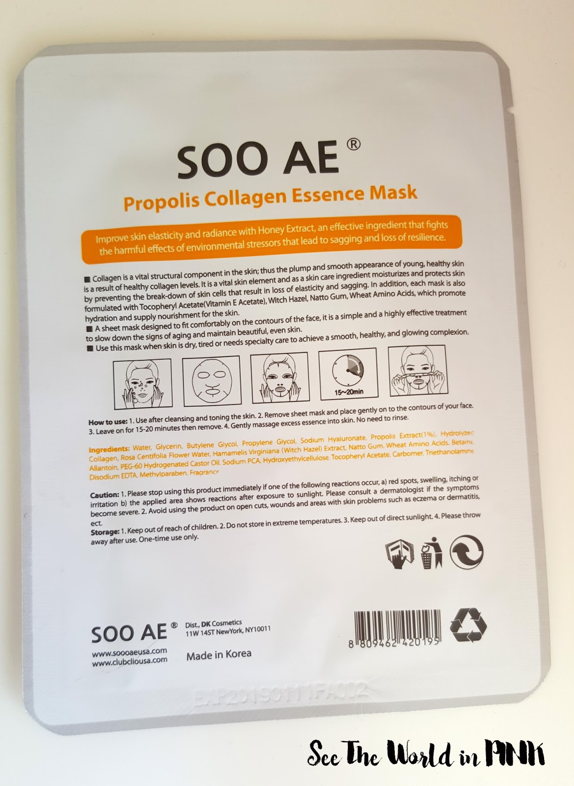 soo ae propolis collagen essence mask