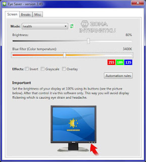 Cara Mengatur Kecerahan Layar PC Di Aplikasi Eye Saver 2