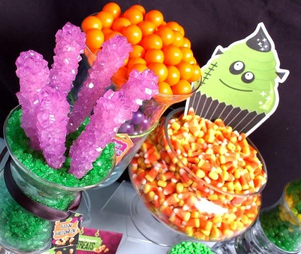 A Halloween Little Monsters Candy Buffet - via BirdsParty.com