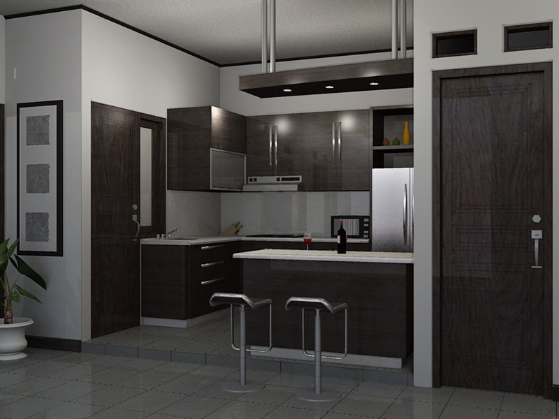 Desain Dapur Kecil Dengan Mini Bar