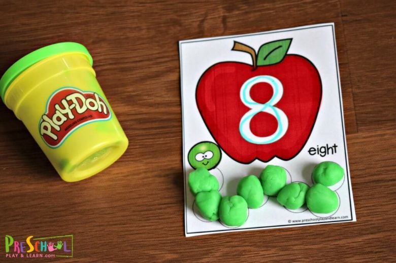 count to 10 apple playdough mats