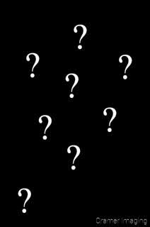 Graphic of question marks representing confusion on a black background by Cramer Imaging