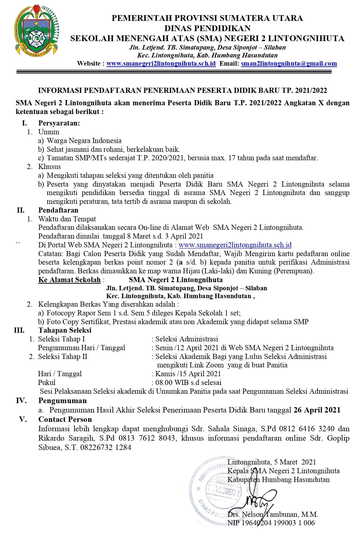 Pendaftaran Peserta Didik Baru SMA Negeri 2 Lintongnihuta TP. 2021/2022 (*Angkatan X)