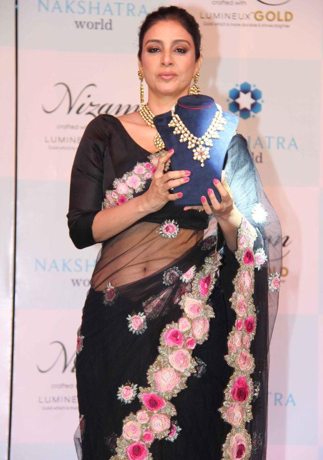 Actress Tabu Long Hair Photos In Black Saree