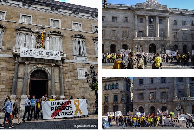 Manifestações políticas em Barcelona
