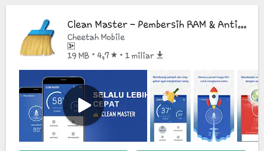 Aplikasi Anti Lemot Clean master