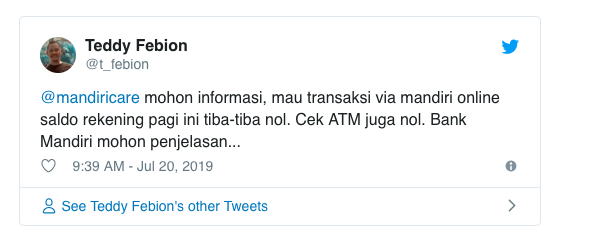 Bank Mandiri Error : Saldo Nasabah Berubah Drastis, Ada Yang Saldo Mendadak 0 Rupiah  Sampai Ada yang Nambah Puluhan Juta
