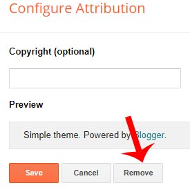 how to remove powered by blogger widget