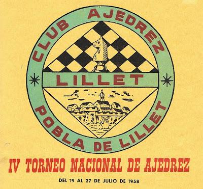 Cartel del IV Torneo Nacional de Ajedrez de La Pobla de Lillet 1958