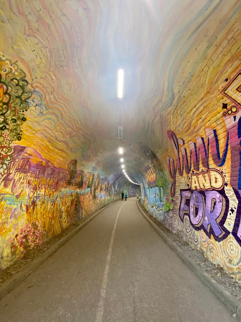 Graffiti inside the Colinton Tunnel, near the Water of Leith walkway, Edinburgh, Scotland