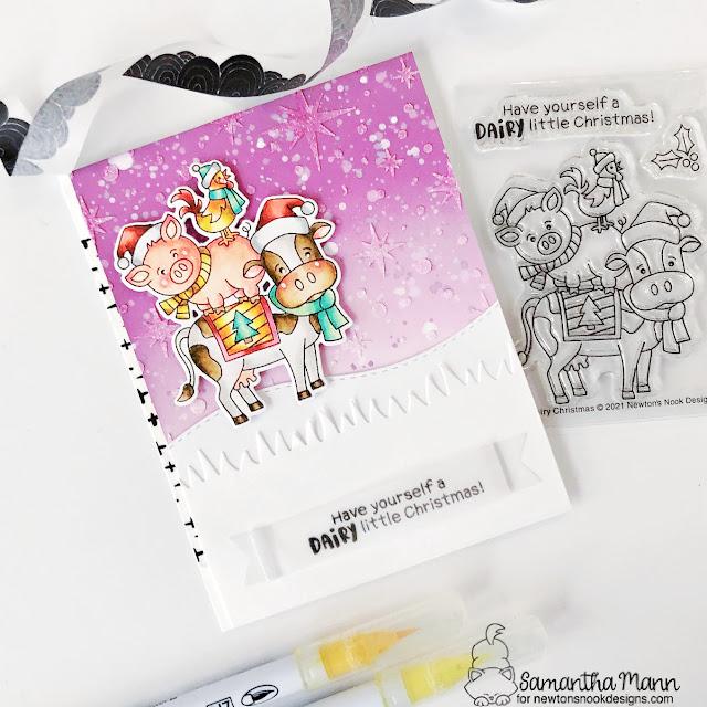 Farm Animals Christmas Card by Samantha Mann | Dairy Christmas Stamp Set, Land Borders Die Set, Starfield Stencil and Banner Trio Die Set by Newton's Nook Designs