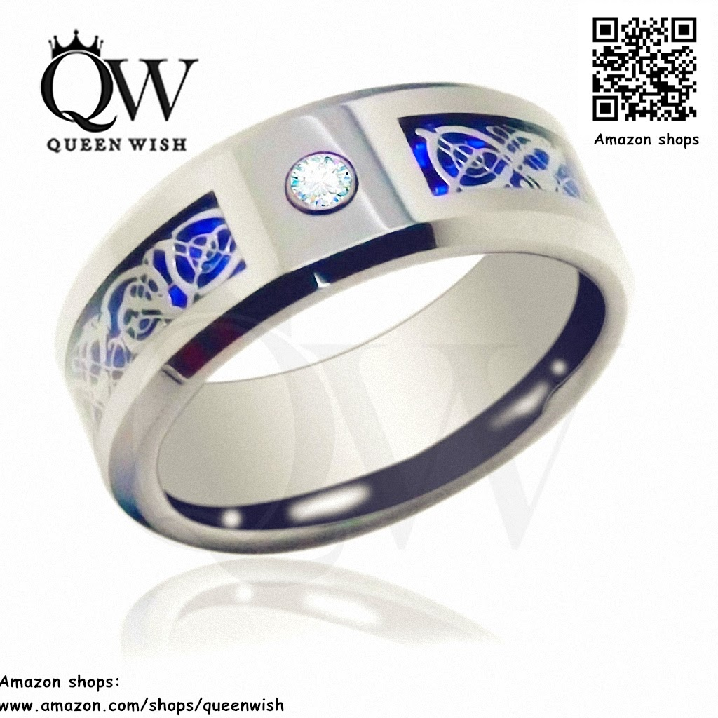 Queenwish 6mm 8mm unique infinity celtic wedding bands for Tungsten celtic wedding ring
