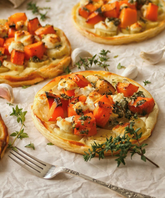 Sweet potato puff pastry tarts.