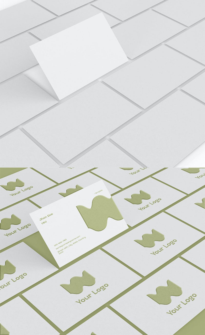 Array of Business Cards Mockup Download Free