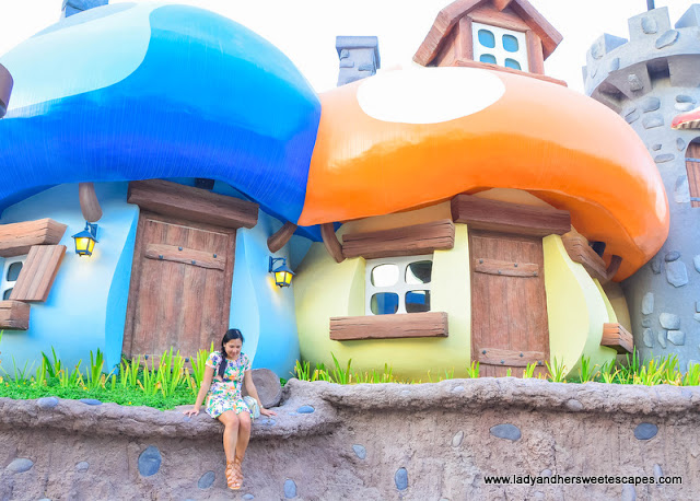 Lady in Smurfs Village Motiongate Dubai