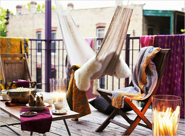 Outdoor Decor Ideas Patio Balcony with Hammock and Cozy Chairs and Tables