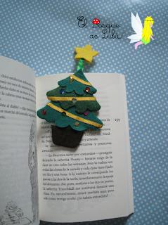 marcapáginas-fieltro-punto-libro-elbosquedelulu-árbol-Navidad