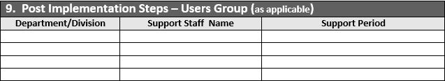 Post Implementation Steps - User Groups