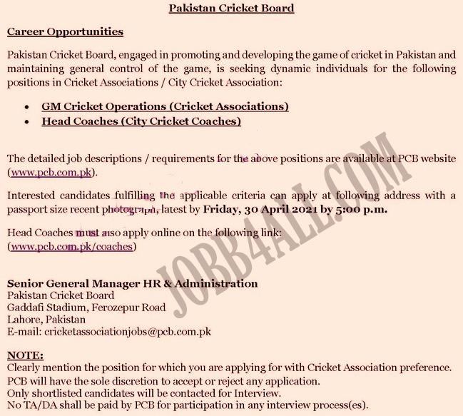 PCB Latest Jobs in Pakistan Cricket Board career 2021 in Pakistan