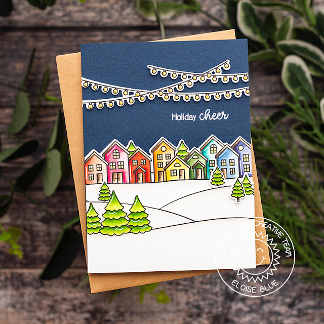Sunny Studio Stamps: Scenic Route Winter Themed Holiday Cards by Eloise Blue