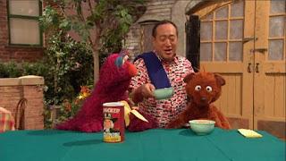 Alan serves Baby Bear and Telly some porridge that is Baby Bear's favorite brand: Quacker Instant Porridge. Sesame Street Episode 4325 Porridge Art season 43