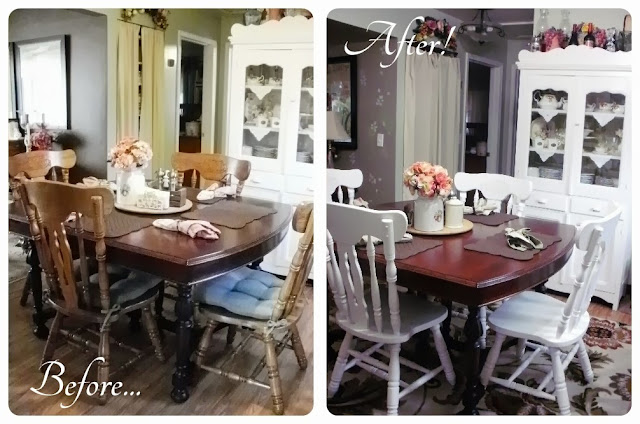 Before and after of the table without painted chairs and with painted chairs