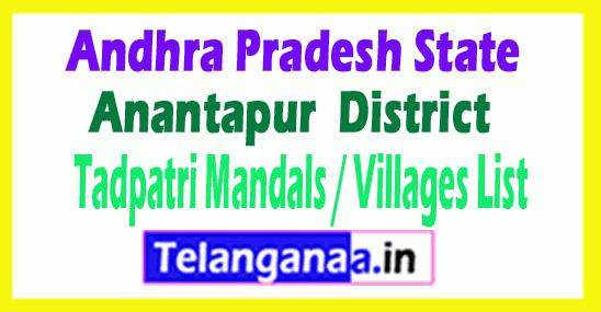 Tadpatri Mandal Villages Codes Anantapur District Andhra Pradesh State India