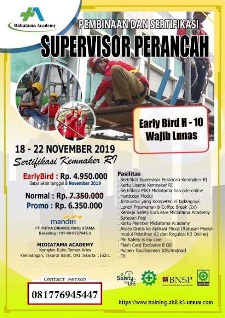 Supervisor Perancah murah tgl. 18-22 November 2019 di Jakarta