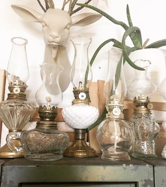 brass and white lanterns