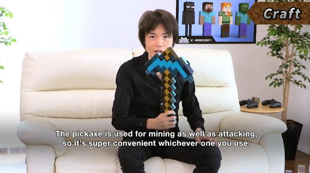 Masahiro Sakurai Minecraft diamond sword pickaxe real life couch