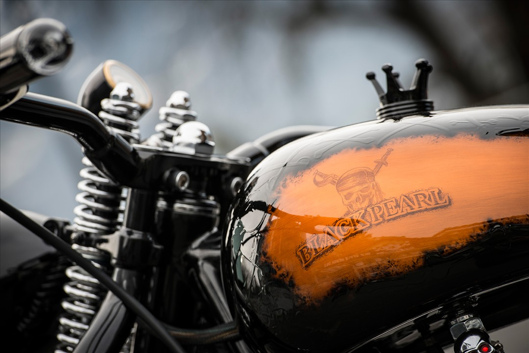 Unreal-soaked brutality custom black pearl from Bobber Garage 3