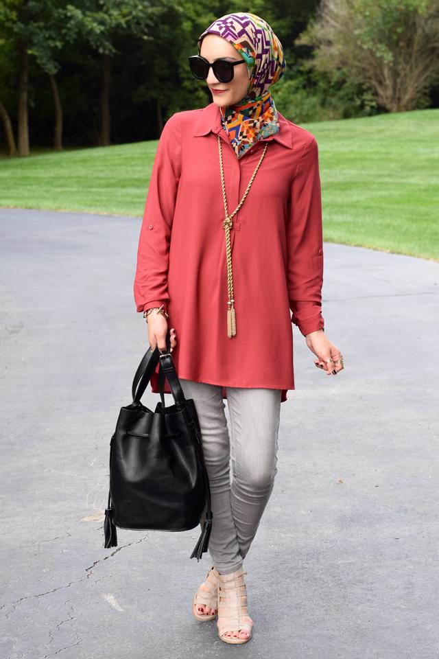 Fashion; Modesty; Fashion Blog;; Fall Trends; Fashion Style; Fashion Trends; Fall Fashion; Rust; Booties; Karen Walker Super Duper; Bucket Bag; Bauble Bar Necklace; NARS Audrey Lipstick; Booties; Grey Denim