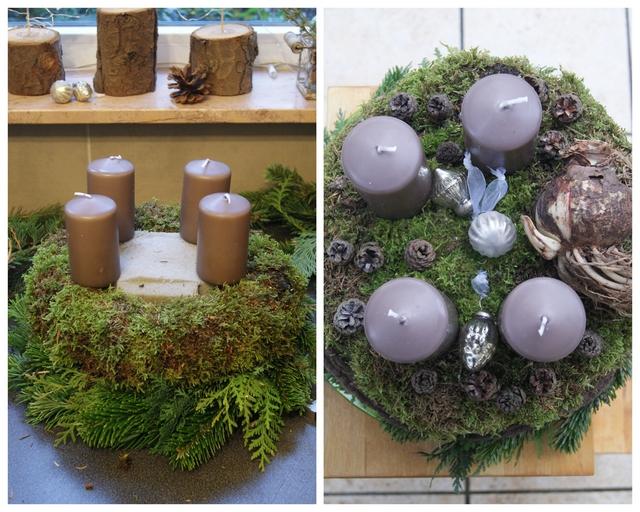 DIY Adventskranz Kerzen anbringen