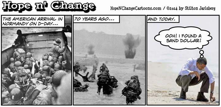 obama, obama jokes, political, cartoon, humor, hope n' change, hope and change, stilton jarlsberg, conservative, normandy, anniversary, d-day