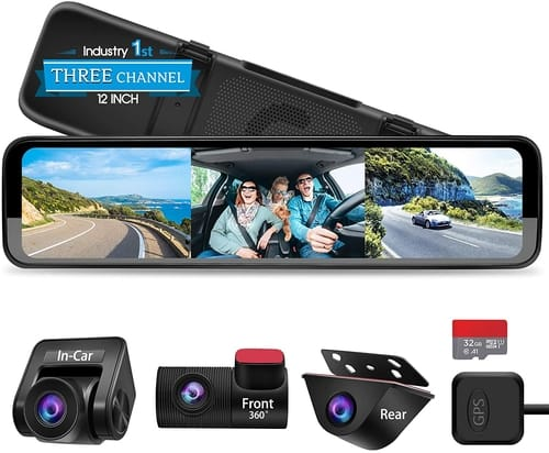 PORMIDO Triple Mirror Dash Cam Car Camera