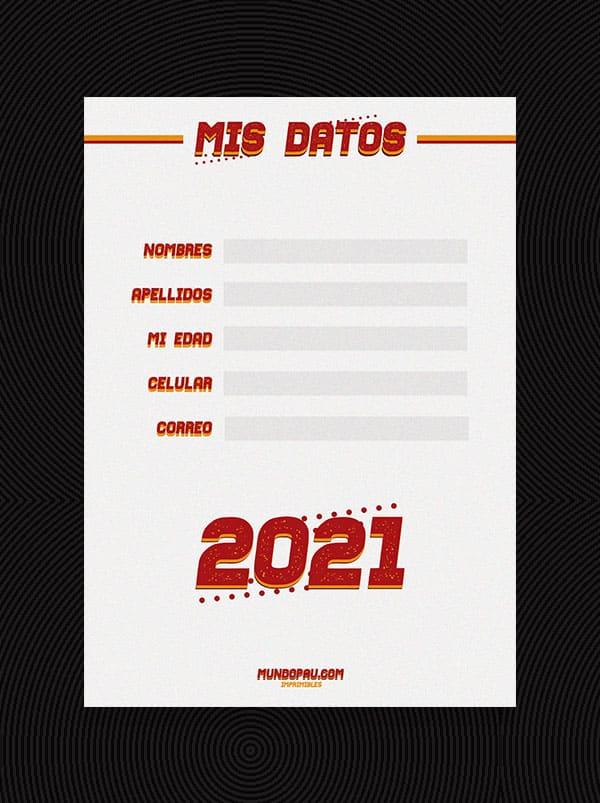 datos de agenda 2021 para imprimir en vintage