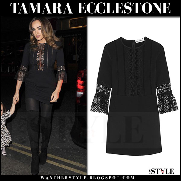 Tamara Ecclestone in black lace mini dress self portrait what she wore