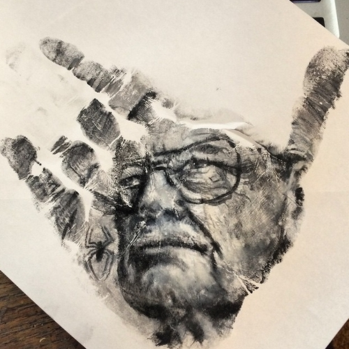 06-Stan-Lee-Russell-Powell-Hand-Body-Painting-Transferred-to-Paper-www-designstack-co