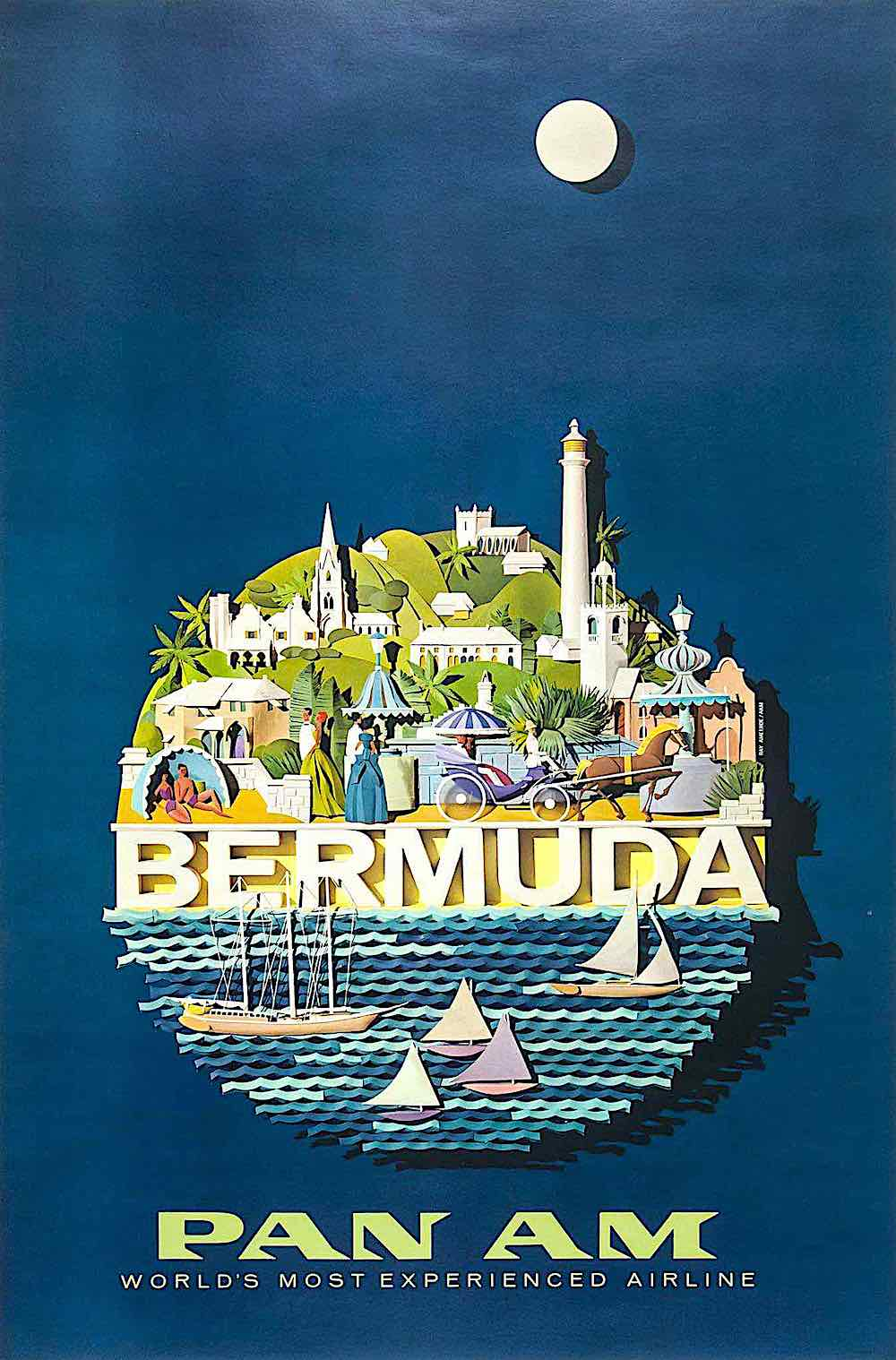 a Raymond Ameijide papercut poster for Pan Am Airline to Bermuda