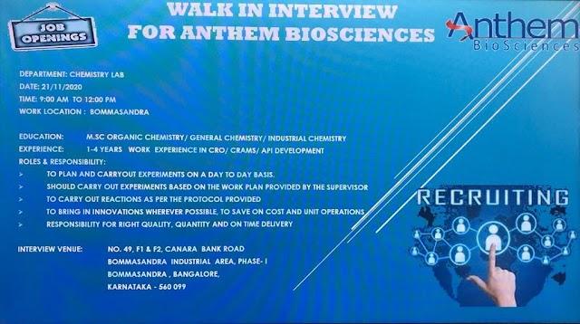 Anthem BioSciences Recruitment Drive- Chemistry Lab Dept. On 21st Nov 2020 @ Bommasandra, Bangalore