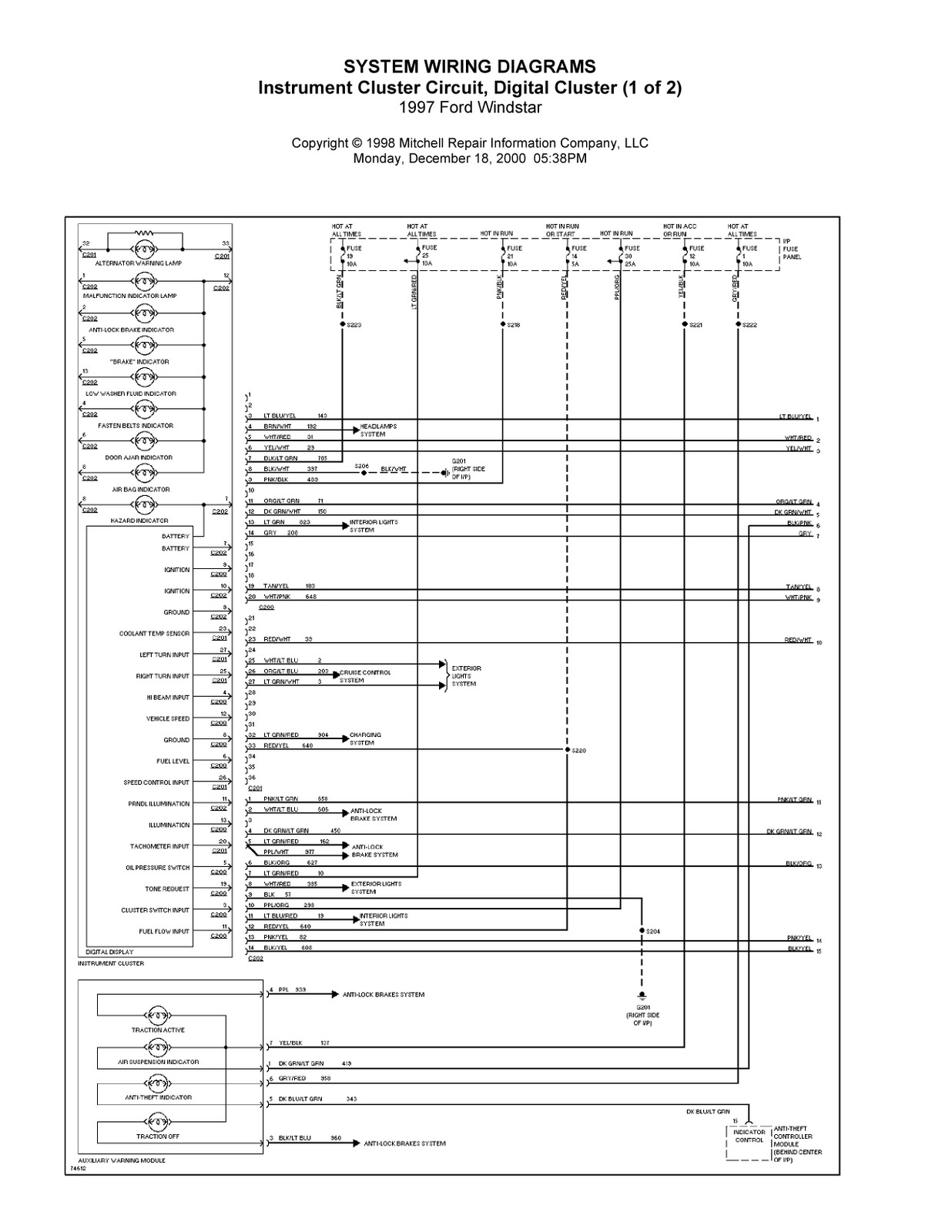 1997 ford windstar complete system wiring diagrams 2001 ford windstar electrical diagram 2002 ford windstar electrical [ 1236 x 1600 Pixel ]