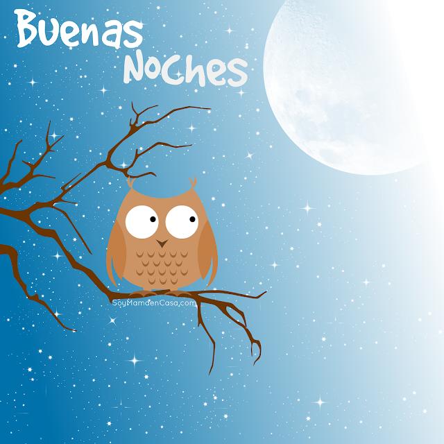 buenas noches, noche, luna, búho, estrellas, cielo